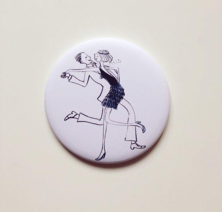 """Specchietto da borsa """"Dancing""""_Piccolo con illustrazione originale : Altri accessori di gab77"""