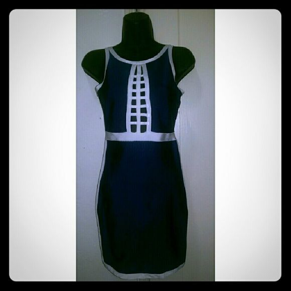 Blue and white Bodycon Dress Dark blue and white zip up closure Bodycon dress. Brand new with tags, size small. May & July Dresses Mini