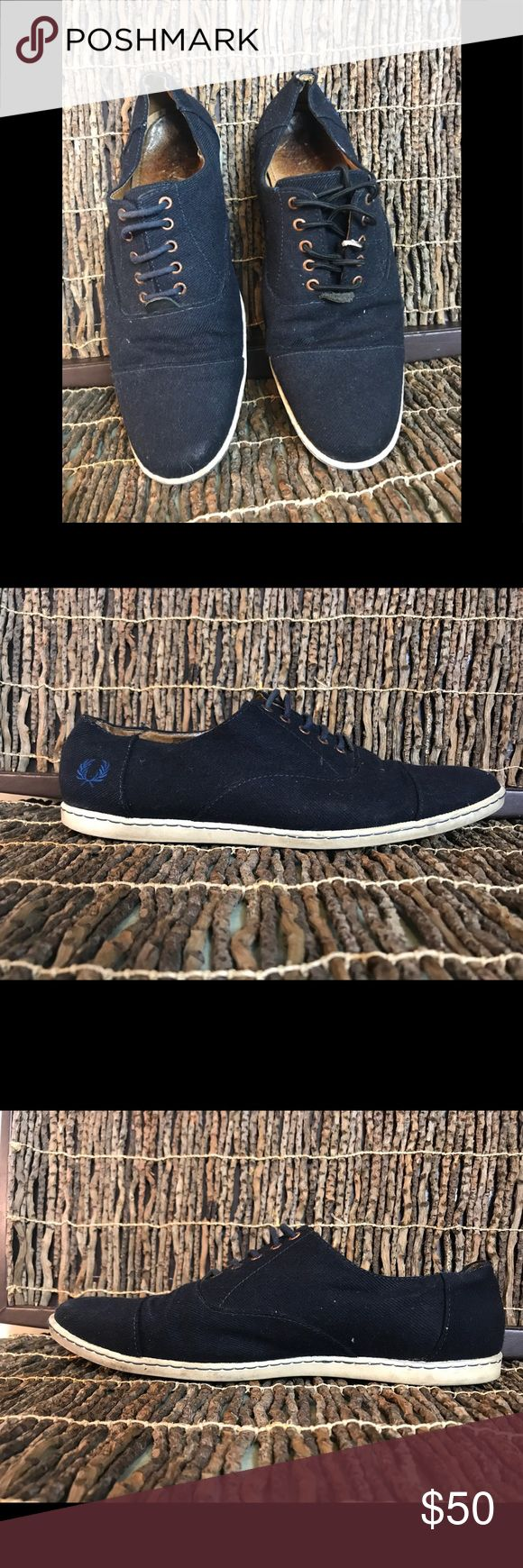 ♻️Fred Perry Mens Lace up Tennis Shoes Size 8 Fred Perry Navy Blue Lace up tennis shoes Fred Perry Shoes Oxfords & Derbys
