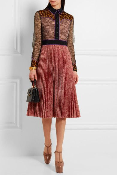 Gucci - Lace And Plissé-georgette Dress - Pink - IT48