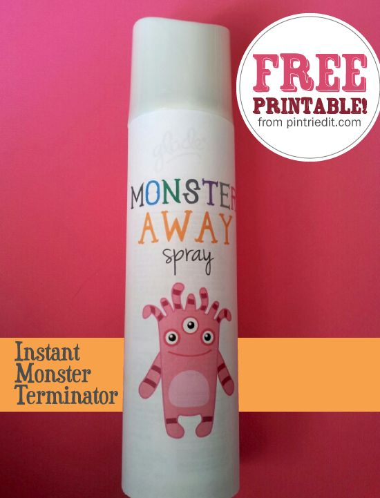 Make your own monster spray away - Free PDF Printable label in pink or blue. Buy empty pray bottle, fill with water and add a couple drops of essential oil.