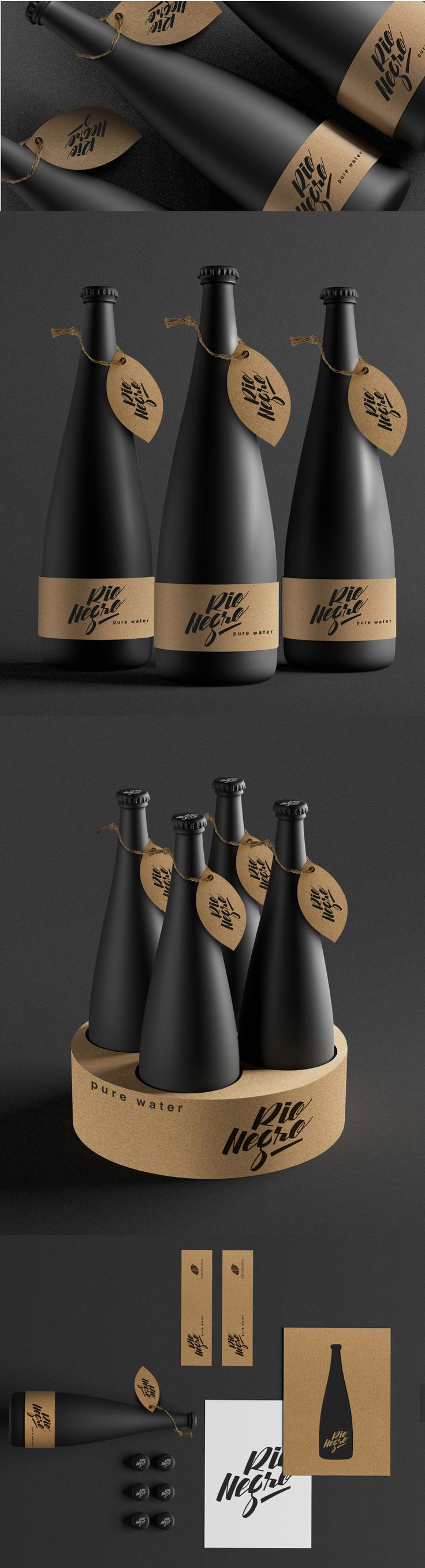 Rio Negro Water matte bottles of water are coated in black and labeled with cardboard