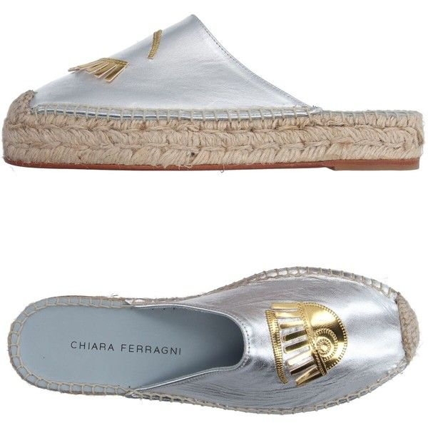 Chiara Ferragni Espadrilles (240 CAD) ❤ liked on Polyvore featuring shoes, sandals, silver, espadrilles shoes, flatform espadrilles, espadrille sandals, leather espadrilles and chiara ferragni shoes