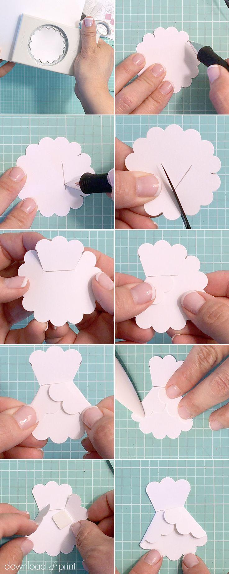 3D paper wedding dress shower invitation   Download & Print