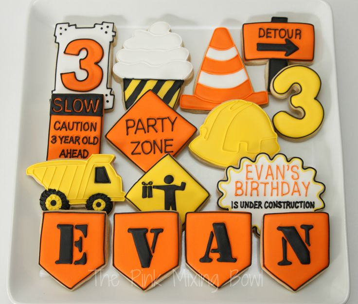 Construction themed birthday cookies by The Pink Mixing Bowl!