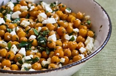 Garlicky Roasted Chickpeas (Garbanzo Beans) with Feta, Mint, and Lemon ...