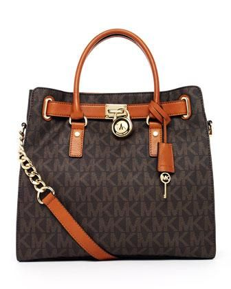 MICHAEL Michael Kors Hamilton Large MK Logo Tote Bag, Brown #Glimpse_by_TheFind