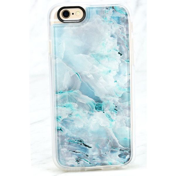 Casetify Teal Onyx Marble Blue iPhone 6 and 6s Case ($40) ❤ liked on Polyvore featuring accessories, tech accessories and blue