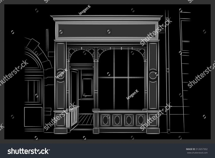 Vector Shop Boutique Store Front with Big Window and Place for Name Shop Front. Exterior horizontal windows empty for your store product presentation or design. Shop Front. Black Background. EPS 10