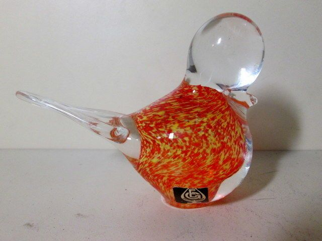 Eneryda Sweden Opalescent Orange Art Glass Bird Paperweight Figurine Mint | eBay