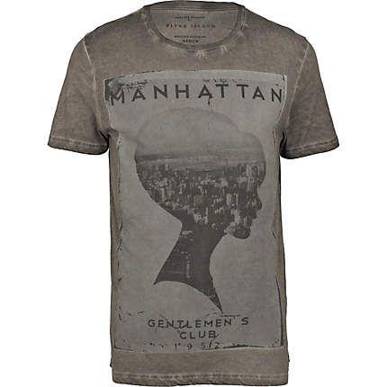 Fancy - grey manhattan gents club print t-shirt - print t-shirts - t-shirts / vests - men - River Island
