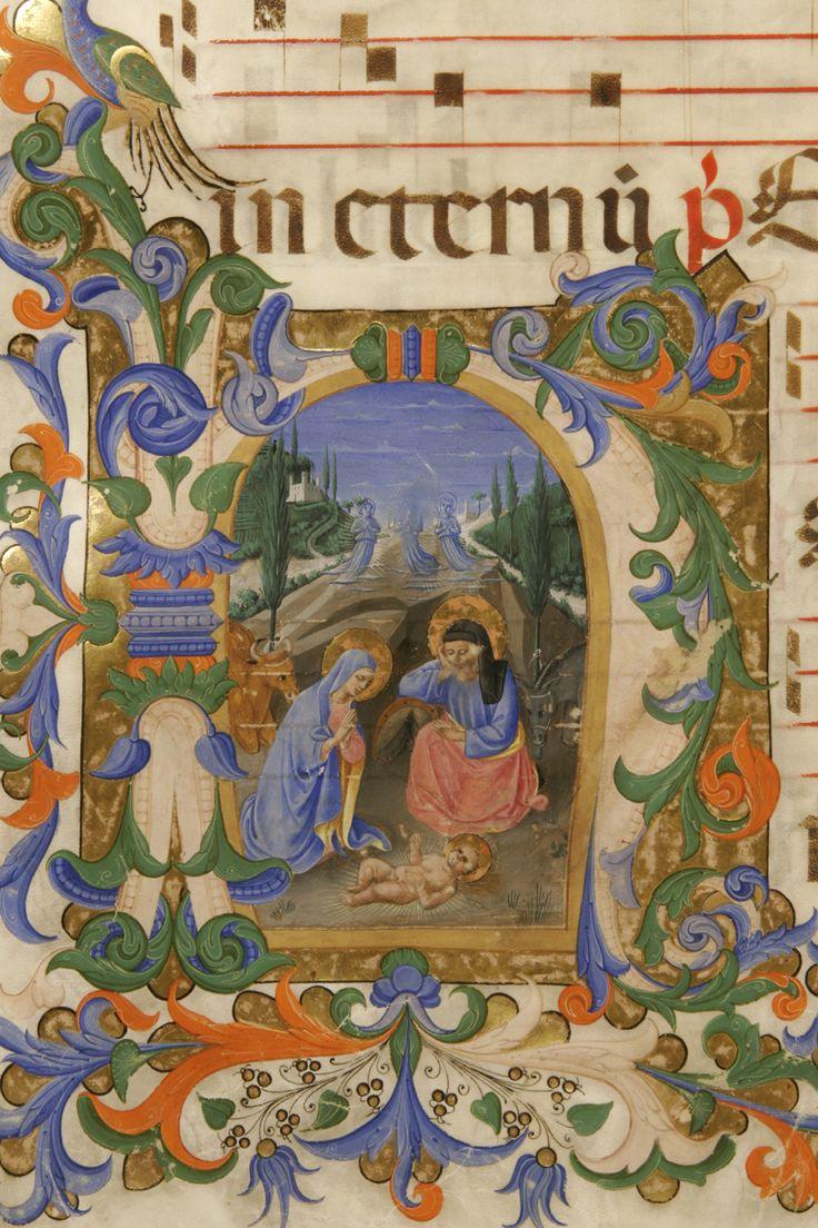 Zanobi Strozzi e Filippo di Matteo Torelli - Natività di Gesù - miniatura tempera e pennello - Antifonario C - Museo di San Marco, Firenze