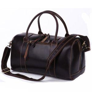 ea1a94165337 Christmas Genuine Crazy Horse Leather Travel Bag Messenger Bag Duffle  Luggage Baggage