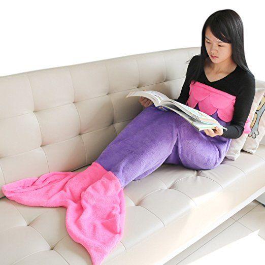 iEFiEL Kinder Meerjungfrau Flosse Blanket Kostüm Decke Fleecedecke für Mädchen