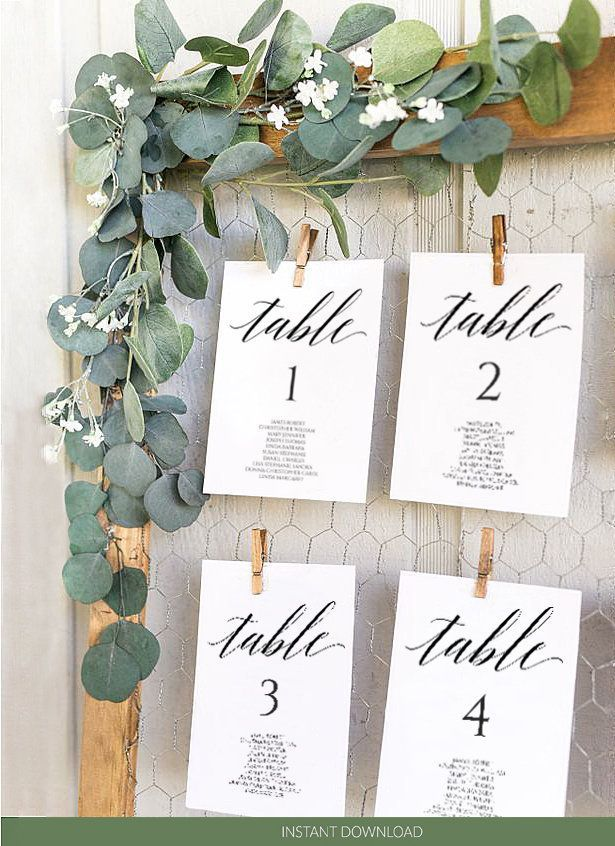 Wedding Seating Chart Template Calligraphy, table …