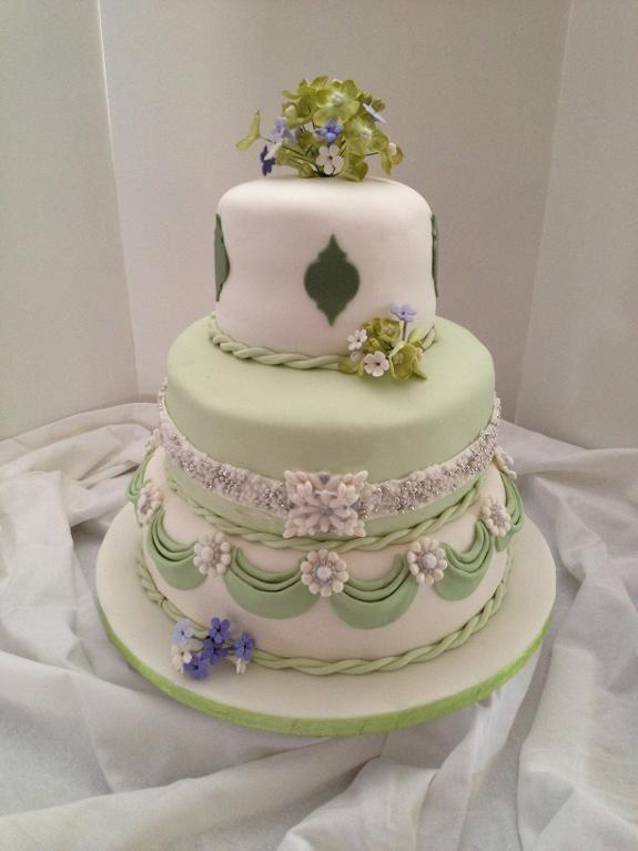 Jeweled Wedding Cake With Sugar Flowers