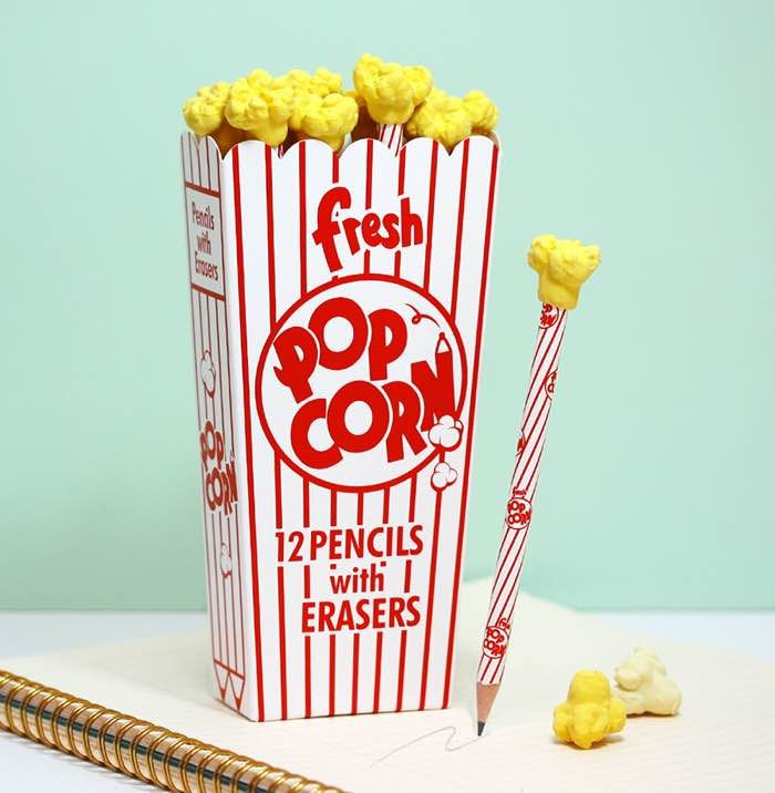 Popcorn Pencils and Erasers - HolyCool.net