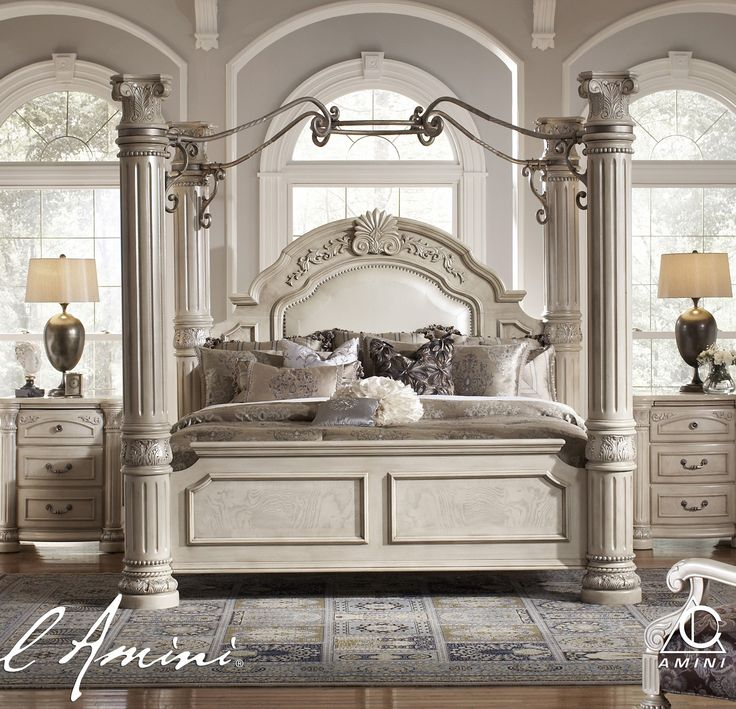 AICO Monte Carlo II King Size Poster Bed with Canopy in