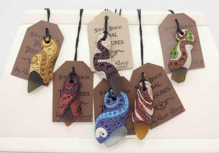 South Beach Tribal Treasures pendants handmade from polymer clay and sea glass. $15 each