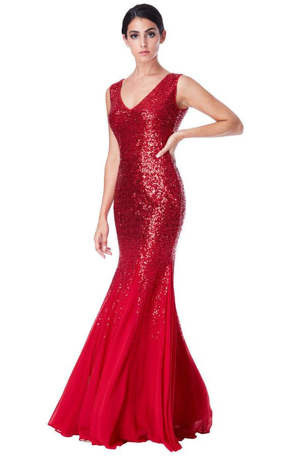 56c9857afe57 Goddiva Red Sequin Chiffon Long Maxi Evening Formal Dress Bridesmaid Prom  Party#Chiffon#Long#Maxi
