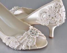 Ivory Wedding Shoes Low Heel | Wedding Shoes Medium Heels Custom Colors Vintage Wedding Lace Peep