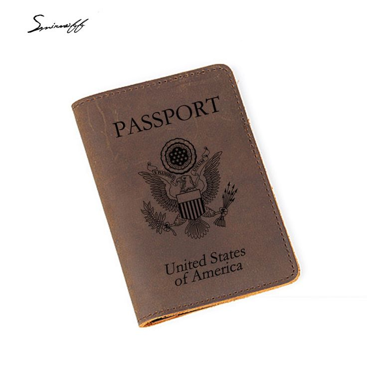 Engraved America Passport Holder Travel Accessories Genuine leather Credit Card …