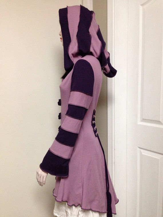 Cheshire Cat inspired purple hoodie with corset-style back-laces by FayeTalityCouture on Etsy