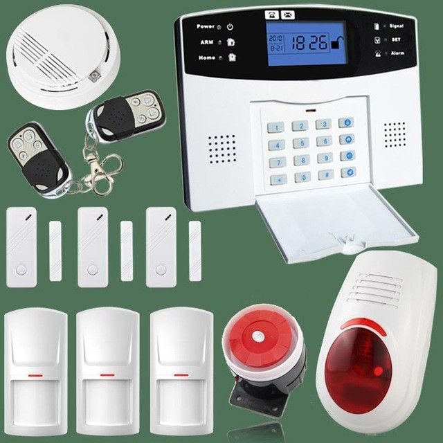 Quad Band Wireless/wired Gsm Alarm System LCD Door Sensor Home Security  Alarm Systems