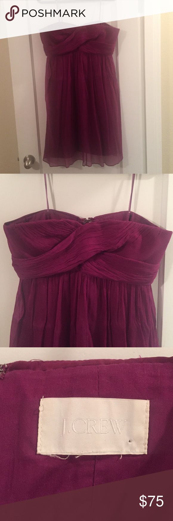 J. Crew bridesmaid dress Fuchsia, strapless, bridesmaid dress. Wore it once! (Go figure) it has boning on the sides to keep it up. Falls right at knee (I'm 5'11). Looked great at the wedding! J. Crew Dresses Strapless