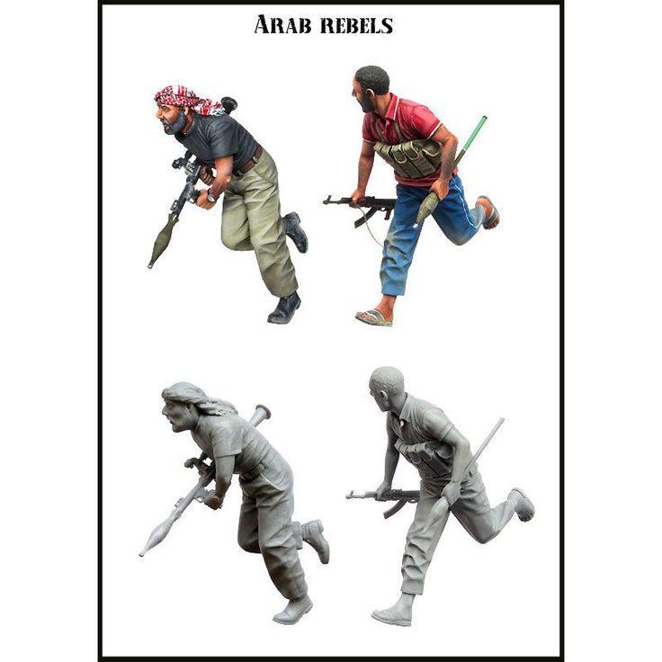 Arab Rebels - 2 <b>Resin Figures</b> Kit Scale <b>1:35</b> Weapon Terrorists ...