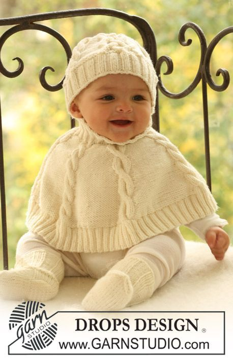 "Baby Accessories DROPS knitted poncho, hat and socks in ""Merino Extra Fine"". ~ DROPS Design -..."