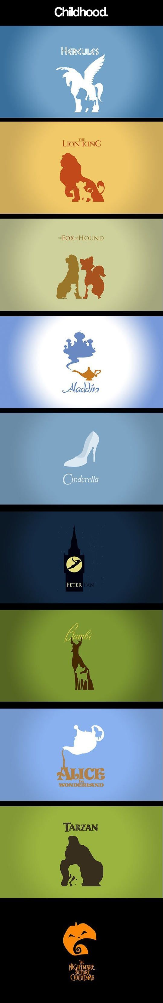 Minimalist posters of Disney Movies - some/most of these were great books and fairytales:
