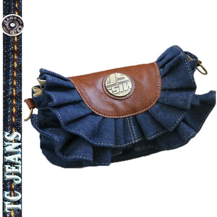 denim bags from old blue jeans | super-fashion-denim-bag-skirts-packet-jeans-handbag-flounced-denim-bag ...