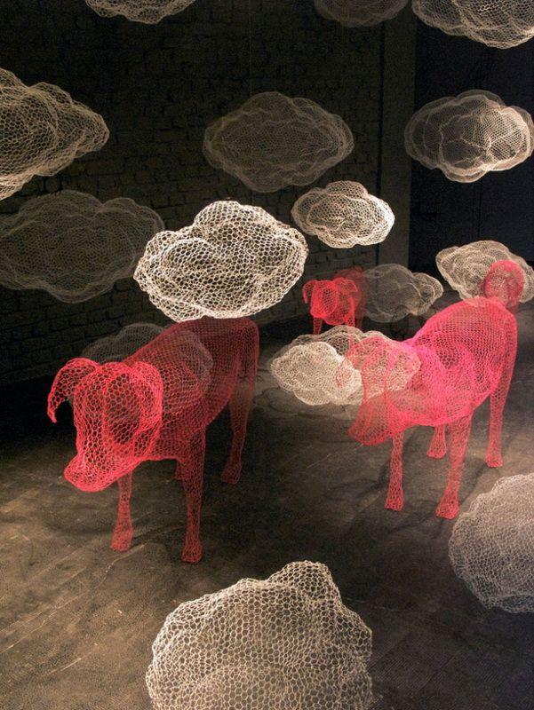 Pig & Cloud Wire Sculptures.