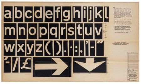 Transport on a dye-line information sheet, 1967. Jock Kinneir, Margaret Calvert. Kinneir Calvert Associates. 50 years of British road signs: https://baselinemagazineblog.wordpress.com/2015/09/05/50-years-of-british-road-signs/