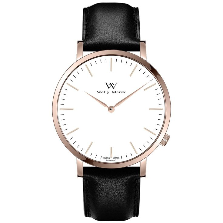 A round rose gold case with classically curved lugs,elegant hue, the rose gold hands match the case colors and underscore their prominent design,color-coordinated leather strap, inimitable and upscale watch.