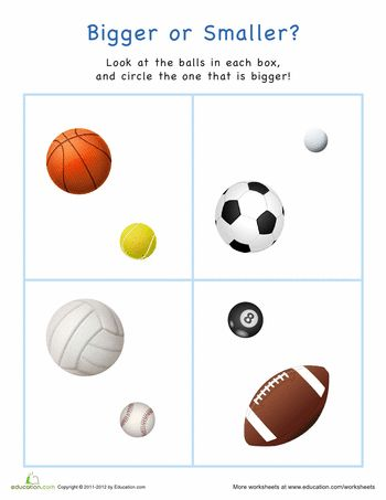 Worksheets: Bigger or Smaller? Sports Balls