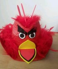 RED ANGRY BIRDS EASTER BONNET/ HAT, feather bird, unisex