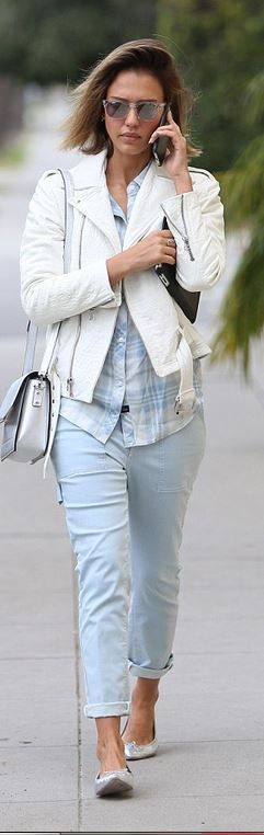 Who made Jessica Alba's silver ballet flat shoes and blue plaid shirt?