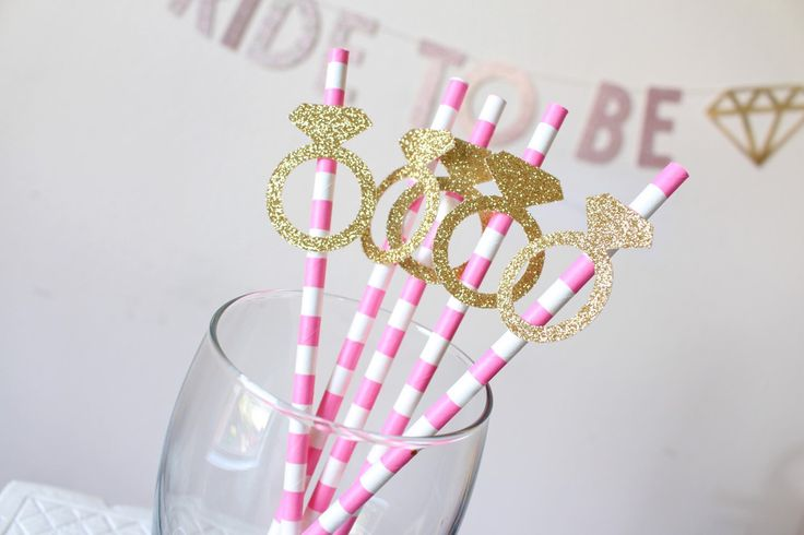 Bridal Shower Decorations - Party Straws - Pink Party Straws - Glitter Party Straws - Engagement Ring Straws - Bachelorette Party -Hen Party by PoshSoiree on Etsy https://www.etsy.com/uk/listing/262174318/bridal-shower-decorations-party-straws