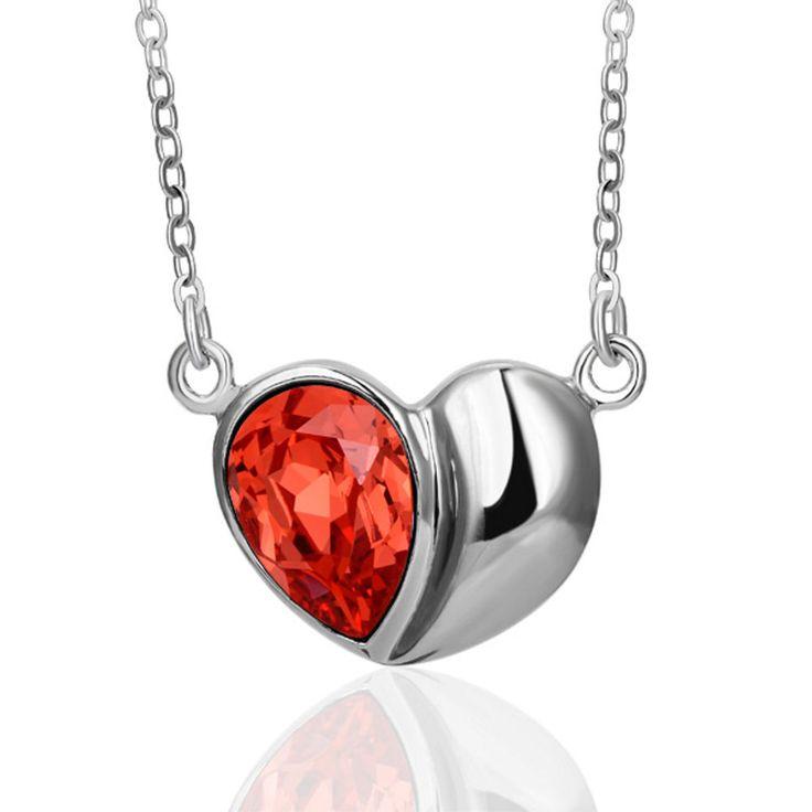Kette mit Schmuckstein-Anhänger rotes Herz, 750 Weisgold vergoldet !  Ja, Valentinstag kommt schon wieder !