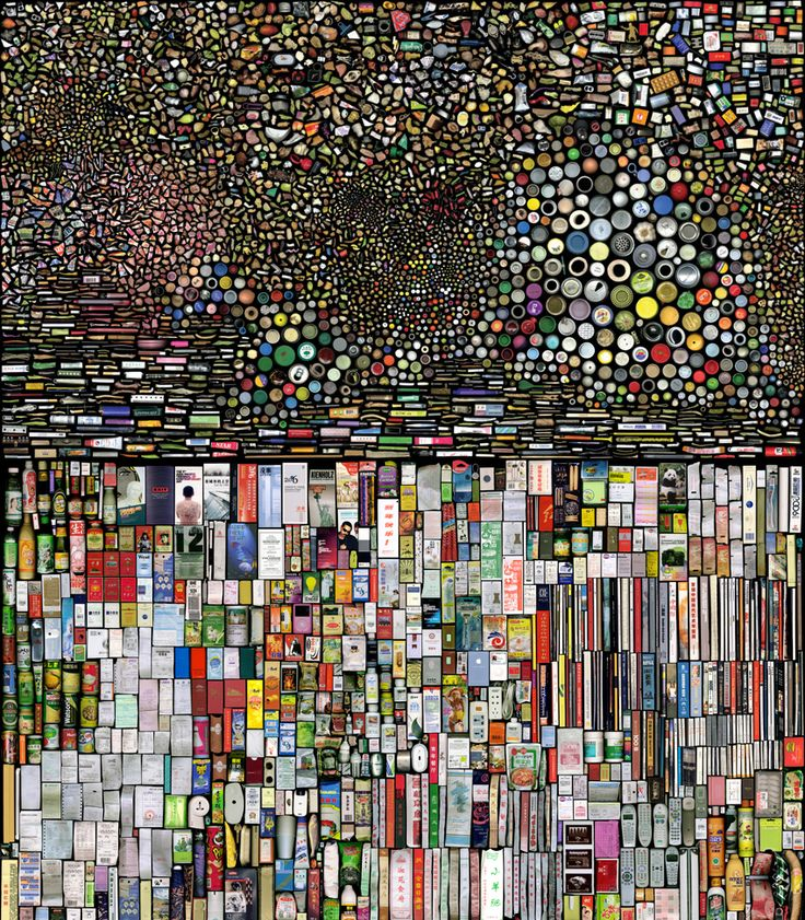 "Hong Hao is a Chinese artist who likes organizing and grouping things. in this photographic work ""my things""  thousands of scanned images are arranged together on a massive scale. when placed on a black background they become micro universes; personal-size objects to create distant galaxies or river deltas across a rubbish strewn landscape."