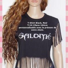 Original baggyt-shirt fille personnalisable !! prenom !! fringed en coton  noir et silver taille 12/ 14 ans long 60cm belicious-delicious-creation