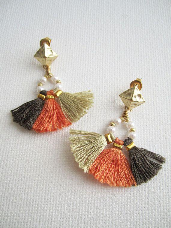 Orange tassel fan earrings Boho Gypsy by MiniTasselDesigns on Etsy