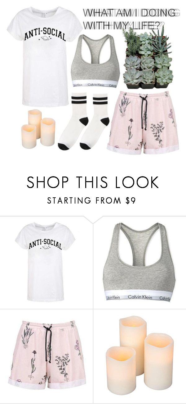 """Stay In Bed Today"" by intergalactic-fx ❤ liked on Polyvore featuring Calvin Klein, Hipster, lazy, plants, pajamas and aesthetic"