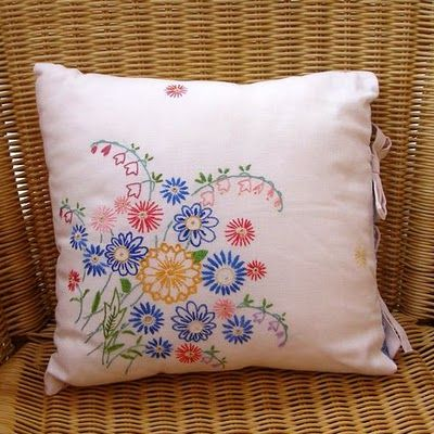 vintage embroidery pillow