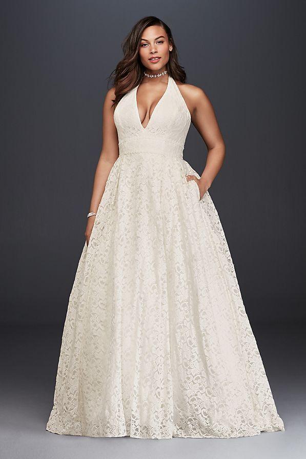 http://www.davidsbridal.com/Product_plunging-lace-halter-plus-size-wedding-dress-9wg3844_plus-size-wedding-dresses