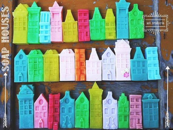 Spring Soap Houses. Handmade organic soaps. Spring rainbow. Welcome gift. Kid's soap.