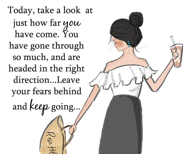 Wall Art for Women -  Take  A Look At How Far You Have Come - Fashion Illustration - cards for friends - Wall Art Print