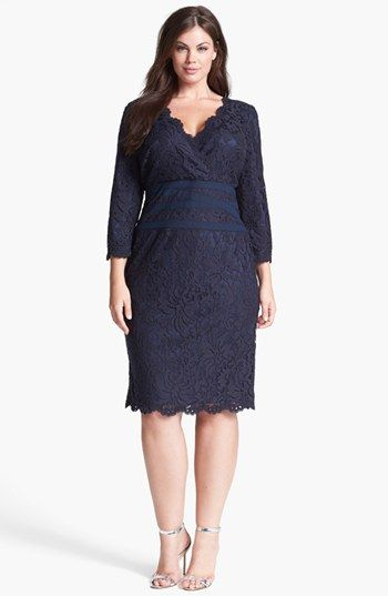 Tadashi Shoji Lace & Tulle Sheath Dress (Plus Size) available at #Nordstrom  Great mother of the bride dress.